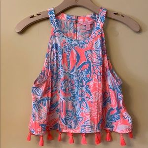 Lilly Pulitzer Neon Pink Blue Selina Tassel Top 6
